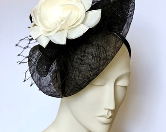 Black Kentucky Derby Fascinator Derby Black Easter Hat Black Church Hat