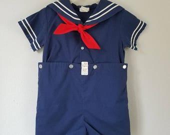 Vintage Classic Boys Navy Blue Sailor Suit by C.I. Castro - Size 4t - New, never worn