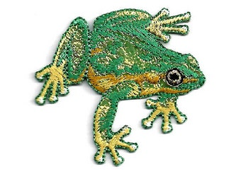 Frog - Green - Amphibian - Nature - Pond - Embroidered Iron On Applique Patch - B