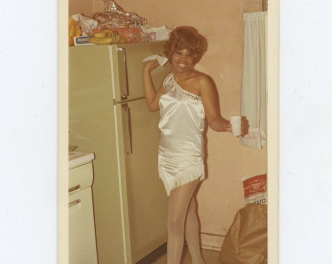 Vintage Snapshot Photo: Party Dress, 1971 [82652]