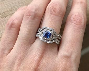 Deco Sapphire Engagement Ring Set- Sapphire Engagement Ring Set- Unique Bridal Set Rings- Vintage Bridal Set- Blue Sapphire Ring Set
