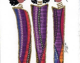 """Customizable, Ethnic, African American, Fabric Greeting Cards, Any occasion, blank """"DIVA"""" cards - by PaintedThreads"""