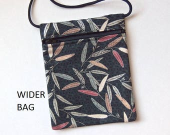 """Pouch Zip Bag Silver Leaves Fabric - Great for Walkers, markets, travel. Cell Phone Pouch. Small Gray fabric cross body bag WIDER 6.75x5.25"""""""
