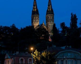 Church Night Tower Saint St. Peter and Paul Prague Czech Basilica Neo-Gothic Architecture Evening Color Landmark City Europe Art Photo Print