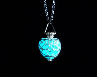 Blue Heart Necklace Glow In The Dark Silver (glows aqua blue)