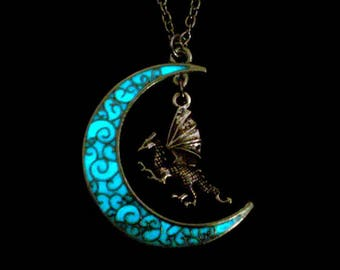Moon And Dragon Necklace Glow In The Dark Dragon And Moon Necklace Pendant Jewelry Antique Silver (glows aqua blue)