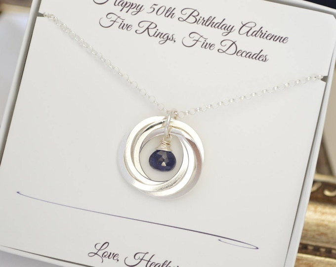 50th Birthday gift for wife, Sapphire necklace, September birthstone jewelry, 5th Anniversary gift, Sister jewelry, Gift for mom, 5 Sisters
