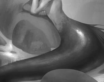 Grayscale Merman print