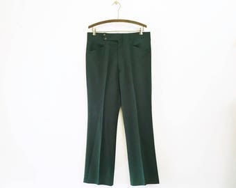 1970s Disco Era Men's Forest Green Pants Vintage 70s Leisure Suit Dark Green Knit Polyester Trousers by Haggar Expand-o-matic - Size LARGE
