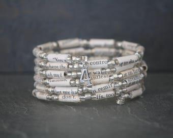 Divergent, Divergent gift, Divergent jewelry, Divergent bracelet, Erudite faction, recycled book bracelet, paper bead, book bead, recycled