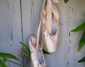 Vintage Ballet Slippers , Pointe Ballet Shoes,Clothing, Satin Ballet Slippers,Ballet Shoes, JDAL, Nordic Style, France, Shabby Home decor,