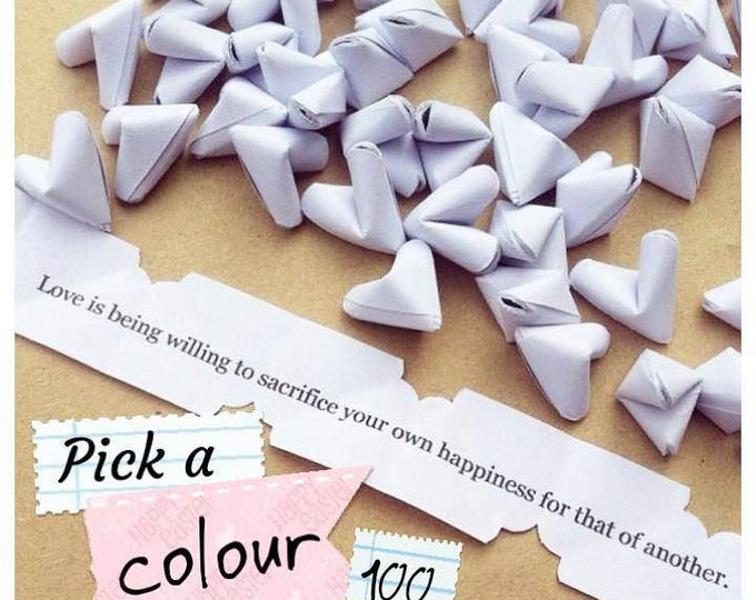 100 paper origami heart love messages - wedding - Free standard shipping - wedding favour - table confetti - serving and dining - favors