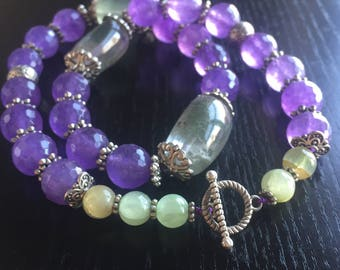 Statement Necklace with Purple Amethyst and Green Amethyst Nuggets