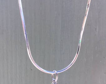 Sterling Silver Blue Gem Charm with Snake Chain