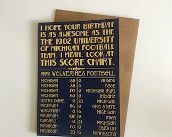 University of Michigan 1902 Football Birthday Card