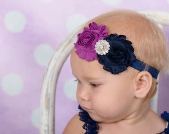 Baby Headband, Plum and Navy Headband, Purple and Navy, Infant Headband, Newborn Headband, Plum Baby Headband, Navy Headband, Fuchsia