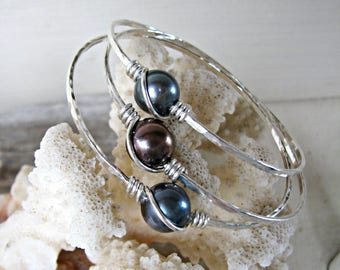 Silver Slip-On Bangle - 3 Available - all 8 Inch Diameter