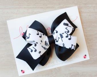 Music Hair Bow - Music Headband - Music Hair Clip - Black Hair Bow - Music Barrette - Music Lover Gift - Music Note Bow - Girls Hair Bows