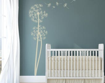 Dandelions Vinyl Wall Decal with 6 DIY floating seeds for interior walls K684