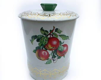 Vintage British Biscuit Tin ~ Apples Pears Plums Fruit Orchard Graphics Kitchen Container Decor ~ Tea Tin