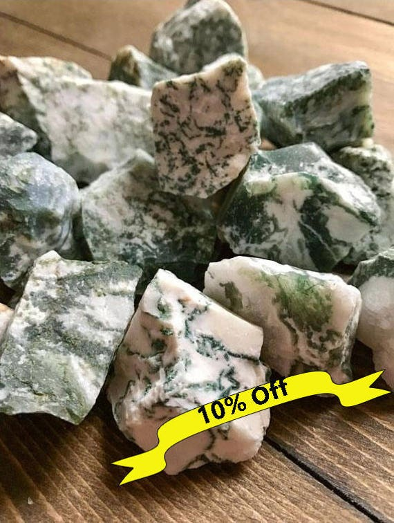 Raw Tree Agate, Chunky Agate, Healing Crystals, Meditation, Earth, Stone, Green, White, Quartz, Nature, Chakra, Spiritual, Healing