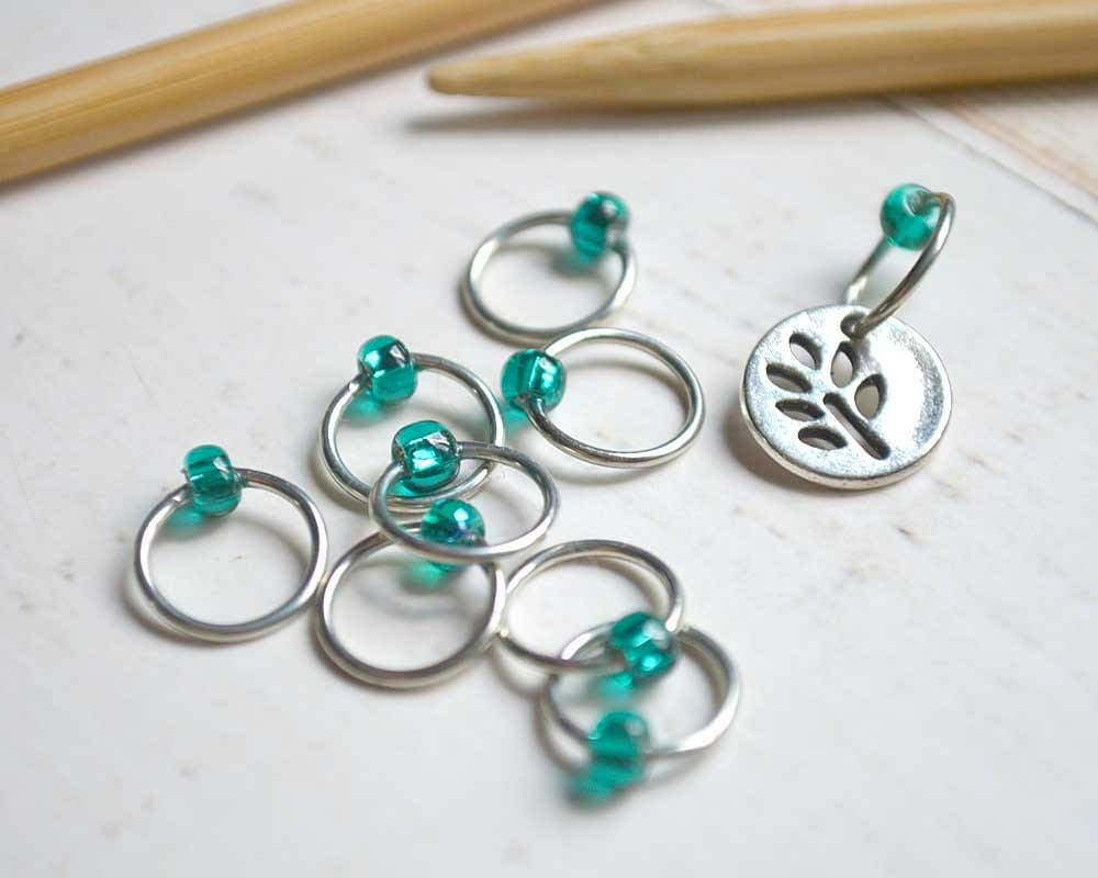 Knitting Markers Etsy : Knitting stitch markers forest fern snag free made