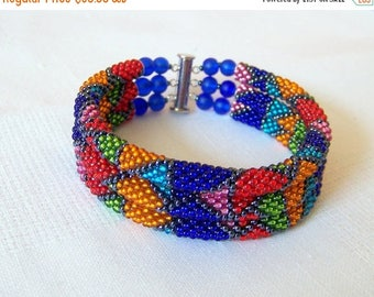 15% SALE 3 Strand Colorful  Multicolor Bead Crochet Bracelet - Bright Geometrics - orange - green - red - blue - pink - sky blue - grey