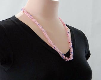 Pink Necklace Knitted Beaded Necklace Beaded Wrap Bracelet ID Badge Lanyard Pink Necklet Gift For Teen Gift For Her For Teacher For Mom
