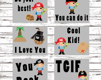 Pirate Lunch Box Notes - Back to School Printable - Digital Lunch Notes - School Pirate Cards - Kindergarten/Elementary Learning - Pirates