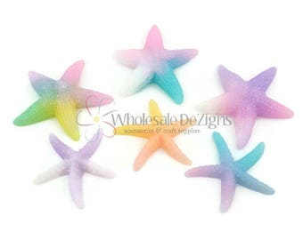 "Starfish Resins DIY Cabochons Flat Back Acrylic Embellishment 1.25"" Tropical Seashells Pastel Ombre Pink Aqua Yellow Turquoise Lavender 6 Pc"