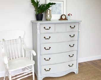 Highboy Dresser - Farmhouse Furniture - Blue Distressed Dresser - Tall Chest of Drawers - Shabby Chic Furniture - 5 Drawer Dresser