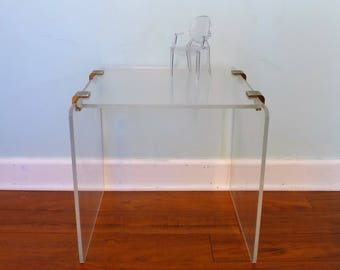 Clear Lucite Side Table With Brass Details Hollywood Regency Waterfall  Rounded Edge Acrylic Occasional Table Mid
