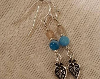 Sterling Silver Paisley Earrings with Blue Agate and Moonstone Beads