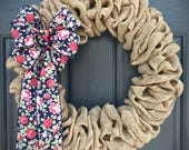 Burlap Wreaths, Fun Burlap Wreath, Gift for Her, Gift Ideas, Burlap Door Decor, Floral Bow, Housewarming Gifts, Baby Announcement, Love