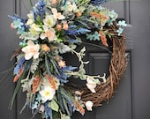 Spring Wreath, Spring Door Wreath, Gift for Her, Colorful Wreath, Spring Decor, Housewarming Gift, Door Wreaths for Spring, Multicolors