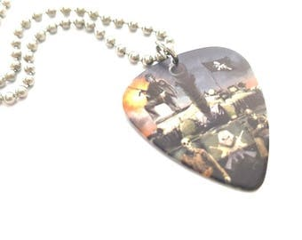 Iron Maiden Guitar Pick Necklace with Stainless Steel Ball Chain