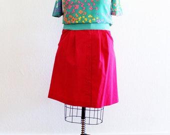 Plus Size - Vintage Fuchsia Button Front A-Line Skirt (Size 14)
