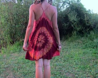 tie dye summer dress, festival clothing, red, green, pink, medium, large