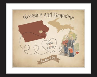 Personalized Gift for Grandma and Grandpa Nana Papa Grandmother Long Distance Family Photo Maps Grandkids Gifts Grandparents Mother in Law