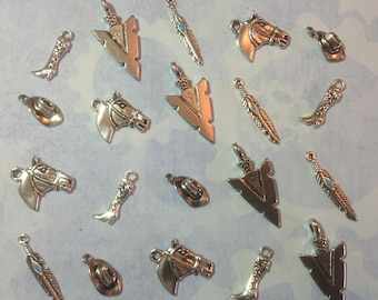 The Wild West collection, cowboy,western,horse,tribal ( set of 20 charms)