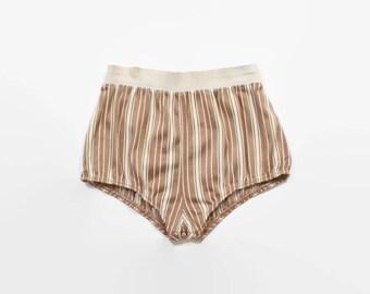 Vintage 50s Swim Trunks / 1950s Men's Striped High Cut Jantzen Briefs