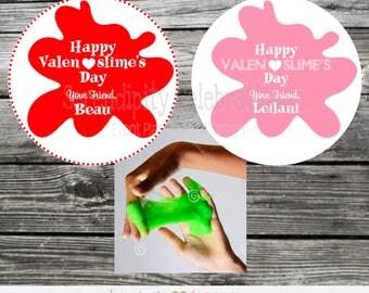 Printable Slime Valentine Tags, Printable Valentine Tags, Valentine's Day, Slime tags, Valentine Stickers, Valenslime, Slime stickers, slime