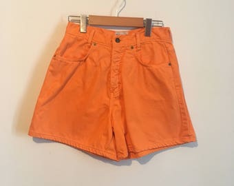 """80s orange high waisted denim shorts, high rise jean shorts, 26"""" waist - vintage -"""