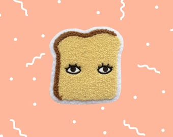 "Bread Toast with Eyes Chenille Fuzzy 3"" Iron On Patch - Bread Club"