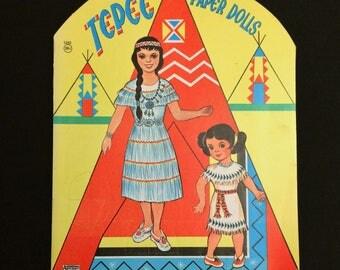 Vintage Tepee Paper Dolls Booklet UNCUT UNUSED c 1960 Native American Indian Saalfield Artcraft Mid Century Toy
