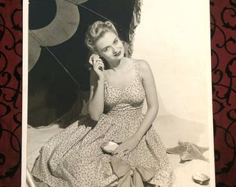 Large 1940s Vintage Fashion Photography, Photo, Model Pin Up Girl, Sundress Beach Umbrella, Black & White, Robert Young