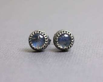 Moonstone Earrings, 6mm Moonstone Studs, Sterling Silver Studs, Rainbow Moonstone Earrings, Earrings, Moonstone Studs, Kathy Bankston