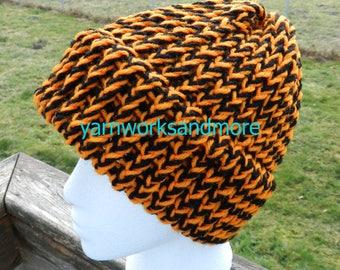 Black And Orange Knit Hat, Loom Knit Hat, Knit Cap, Beanie, Winter Hat, Warm Hat, Unisex Hat, Team Spirit, Team Colors, Gifts Under 20