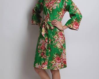 Emerald green Bridesmaid robe, Kids Kimono, Bridesmaids Robes, Flower Girl Robe, Girls Wedding Dress, Girls Cardigan, Cotton Bathrobe