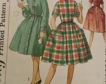 Vintage Simplicity 4528 Sewing Pattern Size 12S One-Piece Dress
